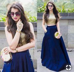 Crop Top And Blue Silk Dress Lehenga Choli ,Indian Dresses - 1 Indian Lehenga, Lehenga Anarkali, Lehenga Indien, Blue Lehenga, Lehenga Crop Top, Bridal Anarkali Suits, Indian Salwar Kameez, Sharara, Bridal Lehenga