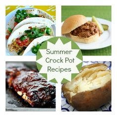 Crock Pot Recipes - great for summer time eating. No heating up the kitchen and food's ready w/o much time -- leaving more time for the important things like the pool :-)
