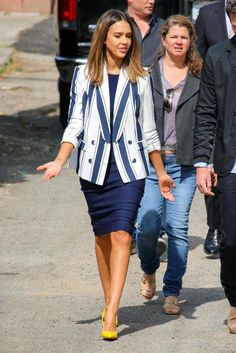 Jessica Alba wearing Finders Keepers End Up Here Blazer and Michael Kors Stretch-Knit Pencil Skirt