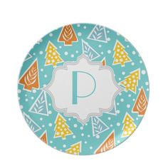 Modern, funky Christmas trees pattern, monogram Party Plate $27.95 #plate #kitchen #homedecor