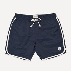 Vintage Swim Trunks from Frank & Oak. Retro Swim, Vintage Swim, Vintage Style, Casual Wedding Guest Dresses, Dress Casual, Bermuda Short, Mens Swim Shorts, Men's Shorts, Summer Shorts