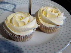 Vanilla rose piped cupcakes.