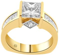 3.55 Carat Lucille Diamond 14Kt Yellow White Gold Engagement Ring - Fashion