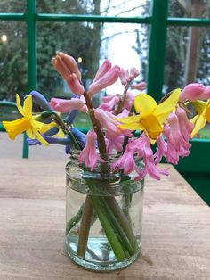 The Organic Farm Shop, Gloucestershire. Spring in a jar brightening up the cafe tables http://www.organicholidays.com/at/3178.htm