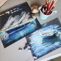 "6,055 Likes, 77 Comments - Еlena Tatkina (@elenatatkina) on Instagram: ""Итальянская лодка на наждачке. Первое задание по пастели сегодня появилось в мастер-группе онлайн-…"""