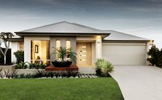 Hepburn - The modern Hepburn elevation features a rendered facade and Colorbond roof