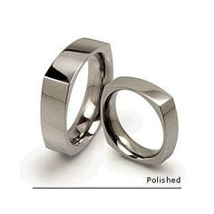 titanium mens wedding band square finish