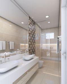 A imagem pode conter: área interna Beige Bathroom, Bathroom Shower Curtains, Small Bathroom, Master Bathroom, Bathroom Ideas, Bathroom Design Luxury, Bathroom Interior, Home Interior Design, Industrial Shower Doors