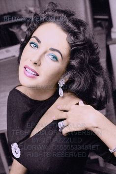 ELIZABETH TAYLOR TECHNICOLOR CONVERSION BY BEDAZZZLED PREVIOUSLY B/W AND GRAINY