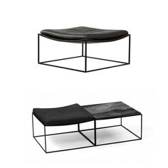 Jorge Zalszupin: 01. Stool in black leather with iron legs for L'Atelier (1960