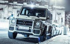 Download wallpapers 4k, Mercedes-AMG G63, Gelendvagen, 2017 cars, SUVs, Dubai, tuning, silver Gelendvagen, street, G63, Mercedes