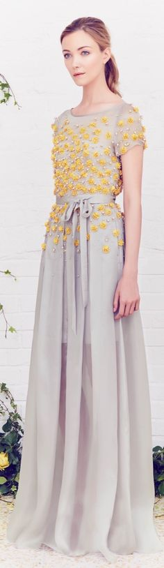 Jenny Packham Resort 2016 - Beautiful grey dress with yellow embroidery. #SanDisk