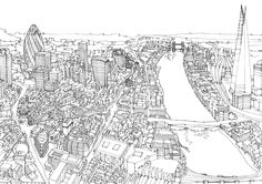 Portfolio of illustrated maps and cityscape pen and ink line drawings by illustrator Abi Daker. Illustrated maps, panoramic city skylines and architectural illustration. All works are hand drawn in watercolour and pen and ink. London Map, London City, Cityscape Drawing, Tourist Map, Ligne Claire, Black And White Design, Drawing Techniques, Line Drawing, Landscape Design