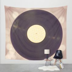 pink record album wall tapestry, home decor, art
