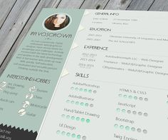 Mint CV design. On the links below you can get free psd template(with fonts) from my dropbox and online version from github by Rosivanov https://github.com/rosivanov/mint_design. Don`t forget to appreciate. Thank you!Cheers ;)