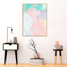 Abstract Mixed Media Painting Pink Art Pink Turquoise and