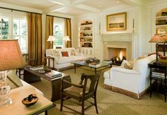 Matching sofas with trim, sisal- Neumann Lewis Buchanan Living Room Interior, Home Living Room, Living Area, Living Room Decor, Interior Trim, Interior Design, Traditional Porch, Family Room Fireplace, Family Room Decorating