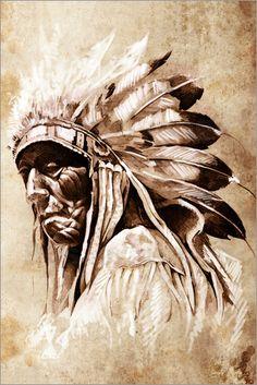 Alter Indianer mit Federschmuck