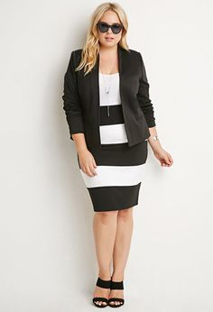 Plus Size Striped Pencil Skirt | Forever 21 PLUS - 2000174123