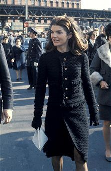 Jackie O in Chanel, at the funeral of Stas Radziwill, 1976, in London.
