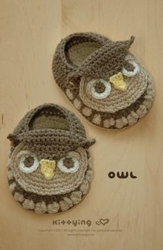 owl baby booties pattern