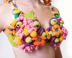 If monsters are something that you'd like to hold close to your bosom, then artist Melissa Sixma has got you covered with this adorable series of crocheted and soft sculpture monster bras. Crochet Bra, Crochet Wool, Freeform Crochet, Crochet Clothes, Crochet Hats, Crochet Geek, Crochet Potholders, Crochet Designs, Amigurumi