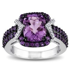 Miadora Sterling Silver Amethyst and 1/6ct TDW Diamond Ring (H-I, I2-I3) with Bonus Earrings