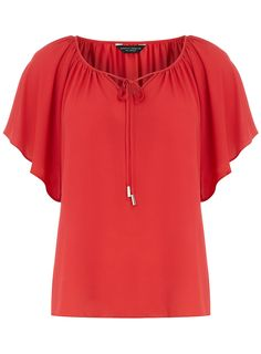 Red angel sleeve gypsy top - View All New In - What's New - Dorothy Perkins United States