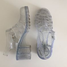 GLITTER jellies ✨ Brand is bamboo, worn but still good condition!! American Apparel Shoes