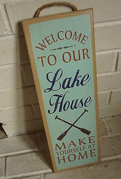 WELCOME TO OUR LAKE HOUSE Canoe Oars Fishing Lodge Cabin Decor LARGE Sign NEW …