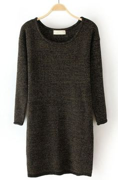 Black Metallic-Blend Round Neck Long Sleeve Basic Knitwear