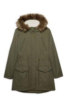 Green Longline Parka Coat