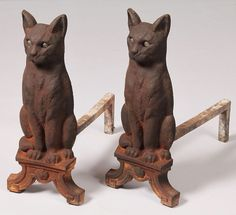 Pair of Cast-iron Cat Andirons with marble eyes which glow in firelight. Fireplace Accessories, Cast Iron, Mystic, Bookends, Lion Sculpture, Pairs, Statue, Black Cats, Antiques