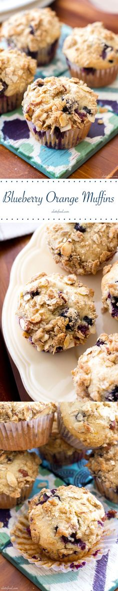 These light, fluffy muffins are packed with sweet blueberry flavor complemented by the orange flavor. | www.alattefood.com/