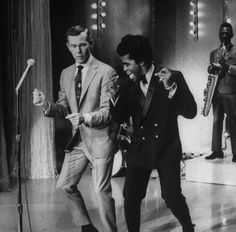 James Brown teaching Johnny Carson how to dance