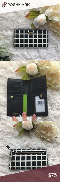 Kate Spade Wallet Brand new with tags authentic Kate Spade Wallet. Black saffiano brushed leather with white contrasting details. Gold hardware. Interior has an ID window and multiple credit card slots. Back exterior zip pocket. kate spade Bags Wallets
