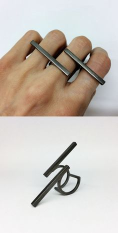 Find on etsy this contemporary geomtrical ring in silver and rhodium plated version...