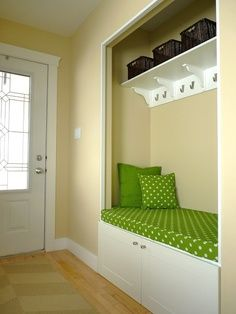 Turn your front closet into a nook! Shoe storage underneath the seat!