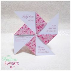Birth Announcement Petit Moulin à Fleurs Roses . pinwheel shape with info on the plain paper side of the arms . Menu Cards, Diy Cards, Easy Diy Gifts, Wishes For Baby, Planner Pages, Baby Party, Craft Work, Diy For Kids, Mini Albums