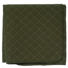 Olive Quilted Cotton Solid Throw Blanket - Shop Little House, Woodstock, NY