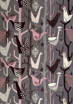 Sylvia Chalmers/Elizabeth Eaton  Feathered Friends  Furnishing fabric, screen-printed cotton  UK  1953