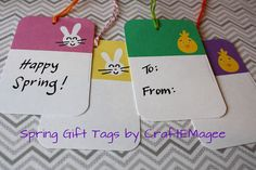 Free printable Spring gift tags by CraftEMagee.com. Would be great with a candy bag or Easter basket!