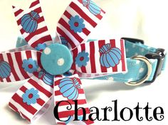 Dog collar polka dot collar turquoise by DazzleDoggieDesigns