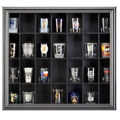 Keep your collection of 28 shot glasses, matchbook covers and other memorabilia arranged together in this attractive display case. The glass front helps to keep the dust away from your keepsakes.