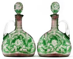 Two-color claret jugs (pair) by Joshua Hodgetts