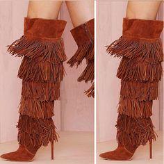 outlet store ce738 c70f7 168.48  Nouveaux bout pointu femmes genou haute bottes gland conception  daim marron en cuir genou haute moto bottes dans Bottes hautes de Chaussures  sur ...