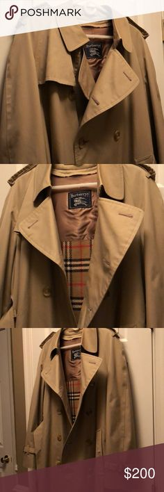 Burberry trench coat, Vintage Vintage! It was my father's coat. I was with him when he bought it in the late 1980's. Wool lining and belt. Authentic Burberry, very good condition. Burberry Jackets & Coats Trench Coats