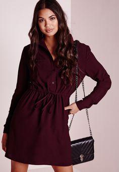 05abc526c4d4f Missguided - Robe-chemise bordeaux avec cordon à la taille Robe Chemise,  Taille,