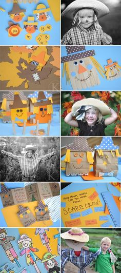 Love the leaves with faces and the scarecrows for an autumnal theme. Could couple with kites to create a scene....