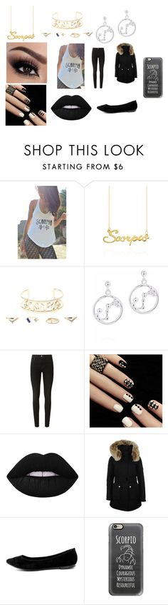 """""""Scorpio"""" by tyshay298 ❤ liked on Polyvore featuring Belk & Co., Charlotte Russe, J Brand, Lime Crime, K100 Karrimor, LULUS and Casetify"""